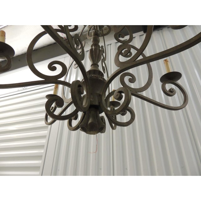 Large Traditional Forged Iron Hanging Chandelier From Curry & Co For Sale In Miami - Image 6 of 12