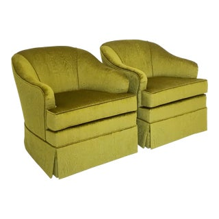 Mid-Century Swivel Club Chairs in Chartreuse Moire Fabric