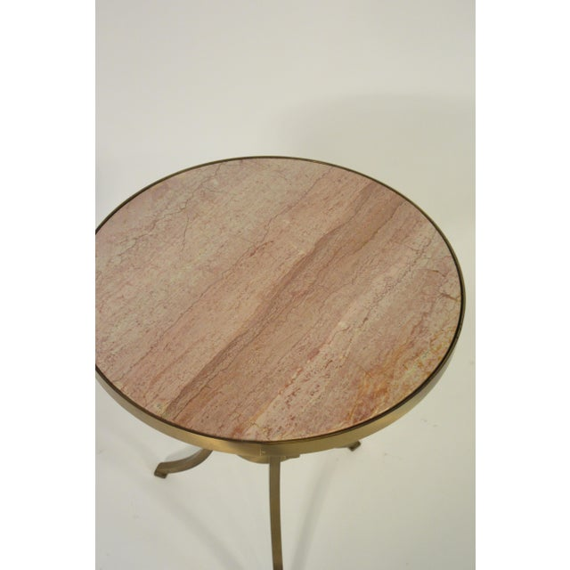 Metal Solid Brass Gueridon Drink Table With Marble Top For Sale - Image 7 of 8