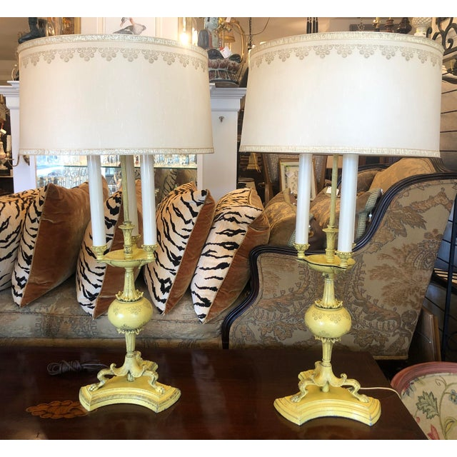 1940s Hollywood Regency Yellow Tole Bouillotte Lamps with Custom Shade - a Pair For Sale In Los Angeles - Image 6 of 6