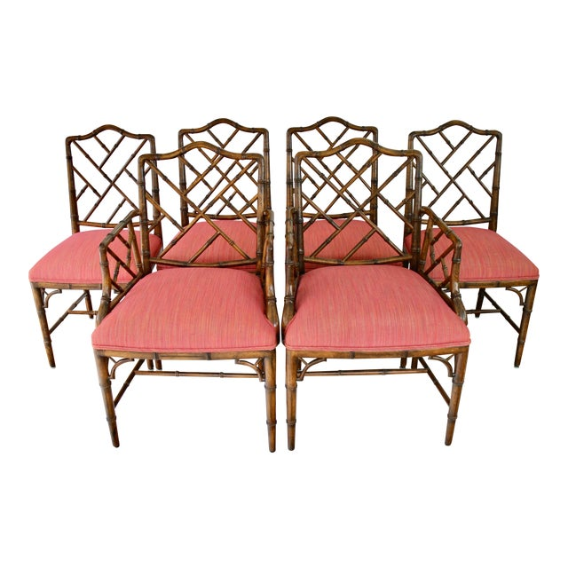 Chinese Chippendale Style Faux Bamboo, Wood Dining Chairs by Century Furniture - Set of 6 For Sale