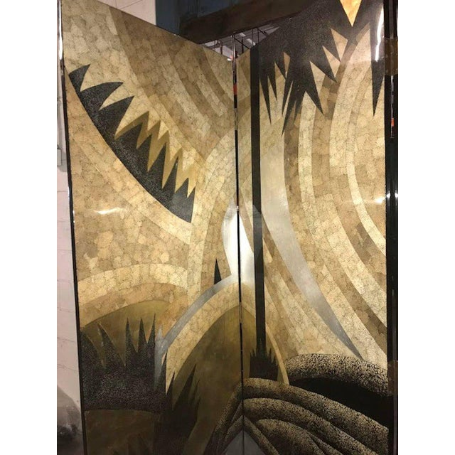 Art Deco Style Egg Shell Lacquer Three-Panel Screen in the Manner of Jean Dunand For Sale In Atlanta - Image 6 of 7