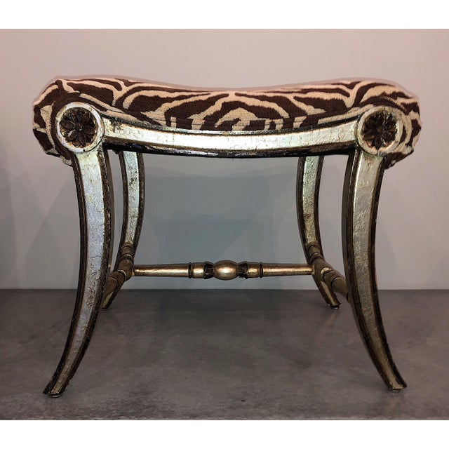 Late 20th Century Hollywood Regency Silver Gilt Zebra Benches - a Pair For Sale - Image 5 of 13