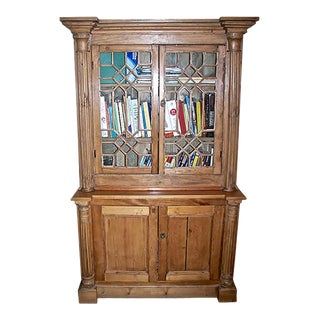 19th Century English Pine 2 Piece Stained Pinewood Library Bookcase. For Sale