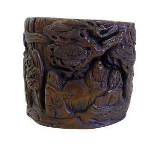 Chinese People Pine Carving Bamboo Display Figure Brush Holder Pot