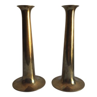 20th Century Danish Modern Torren Orskov and Co. Brass Candlesticks - a Pair For Sale