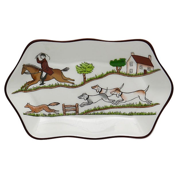 Cottage Coalport English Hunting Scene Pickle / Nut Dish For Sale - Image 3 of 3