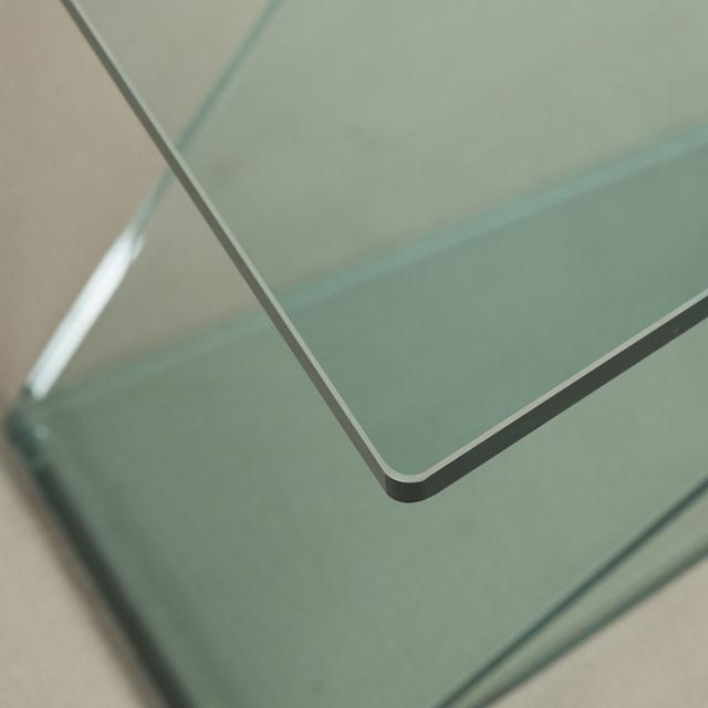 Cantilevered Sculptural Glass Side Table For Sale - Image 4 of 6