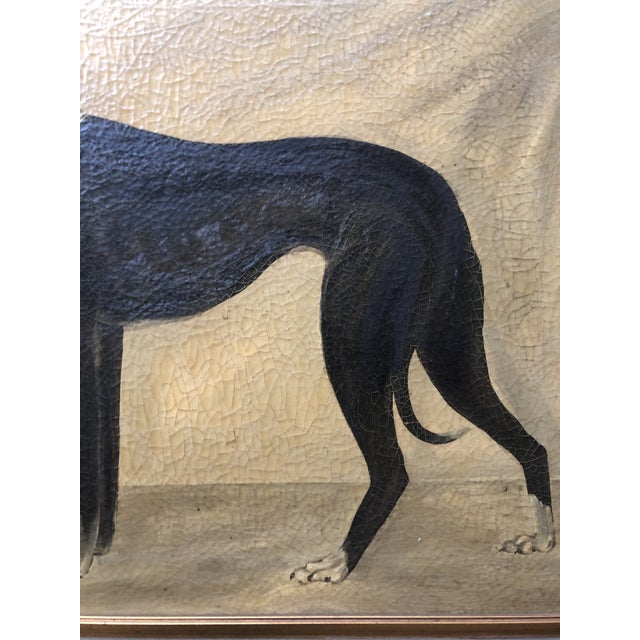 Hollywood Regency Vintage Original Classic Greyhound Portrait Painting With Irises For Sale - Image 3 of 6