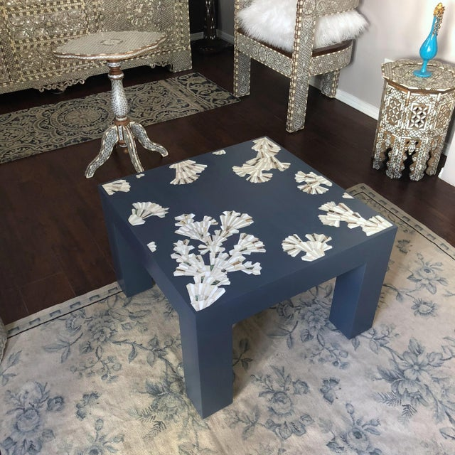 Contemporary Modern Blue Coffee Table With Mother of Pearl Inlay For Sale - Image 3 of 12
