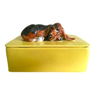 Vintage 1980's Studio Pottery Handcrafted Basset Hound Dog Ceramic Box With Lid Top For Sale
