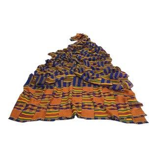 Vintage African Ghana Kente Cloth Panel 3 1/2 Yards For Sale