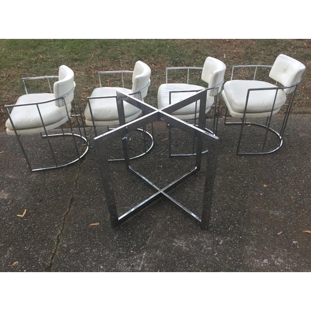 Thayer Coggin Chrome Chairs and Base - Image 2 of 11