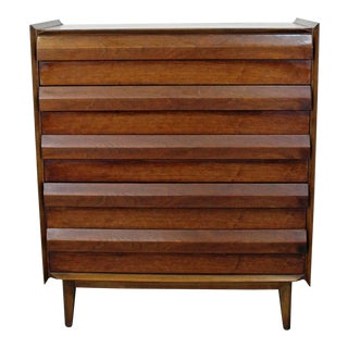 Mid-Century Danish Modern Lane First Edition Walnut Tall Chest/Dresser For Sale