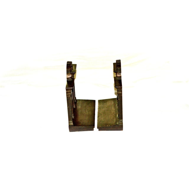 Traditional 1920s Antique Bradley & Hubbard Trellis Bookends - a Pair For Sale - Image 3 of 11