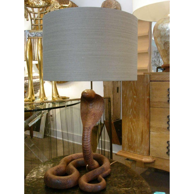 Whimsical Carved Wood King Cobra Table Lamp - Image 6 of 6