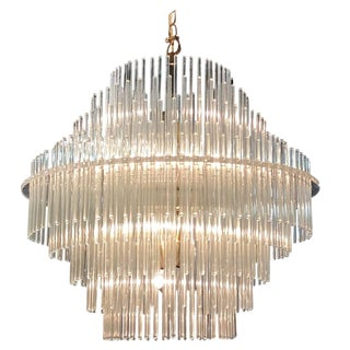 Five-Tier Glass Rod Chandelier by Sciolari for Lightolier For Sale