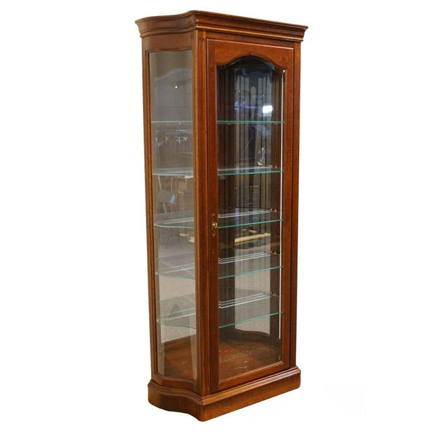 """20th Century Traditional Jasper Cabinet Solid Colonial Cherry 37"""" Curio Display Cabinet For Sale - Image 12 of 12"""