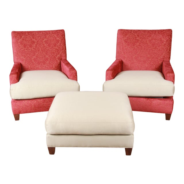 Baker Furniture Contemporary Oversized Down-Filled Lounge Chairs and Ottoman For Sale