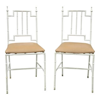 Italian Hollywood Regency White Faux Bamboo Metal Accent Side Chairs - a Pair For Sale