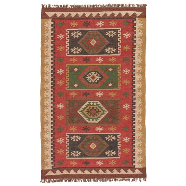 Jaipur Living Amman Handmade Geometric Red/ Gold Area Rug - 4′ × 6′ For Sale In Atlanta - Image 6 of 6