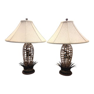 Vintage Maitland-Smith Circus Monkey Bronze & Rattan Lamps With Shades - a Pair For Sale