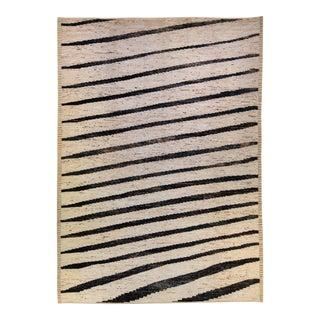 Modern Moroccan Style Handmade Geometric Beige Oversize Wool Rug For Sale