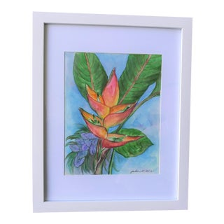 """""""Hawaii Heliconia Bihai Flower"""" Contemporary Botanical Watercolor Painting, Framed For Sale"""