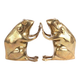 Vintage Brass Frog Bookends - a Pair For Sale