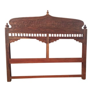 Boho Queen Carved Wood Headboard For Sale