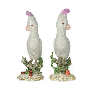 "2 Vintage Nymphenburg Porcelain Cockatoo Bird Parrot Figurines 12.5"" For Sale"