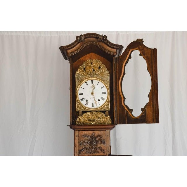 Metal Carved 18th C French Lantern Clock Case With Movement For Sale - Image 7 of 13