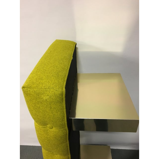 Mid-Century Modern Bright Yellow Tufted Bench on Brass Base For Sale - Image 10 of 11