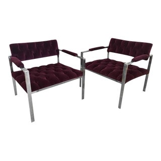 Harvey Probber Pr Mid-Century Modern Chrome & Velvet Tufted Arm or Lounge Chairs