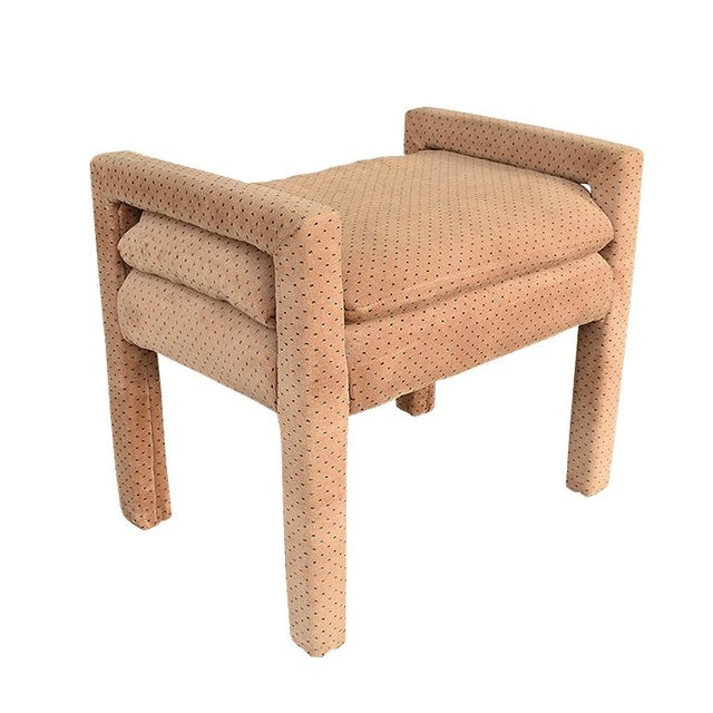 Mid-Century Modern Milo Baughman Style Tan Swiss Dot Dalmatian Upholstered Parsons Bench For Sale - Image 6 of 6