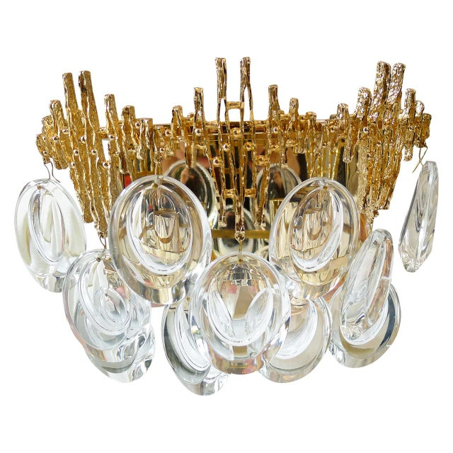 Pair of Gilt Brass & Crystal Brutalist Sconces by Palwa - Image 3 of 4