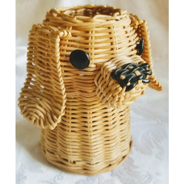 1960s Mid-Century Wicker Dog Desk Pencil Holder For Sale - Image 5 of 5
