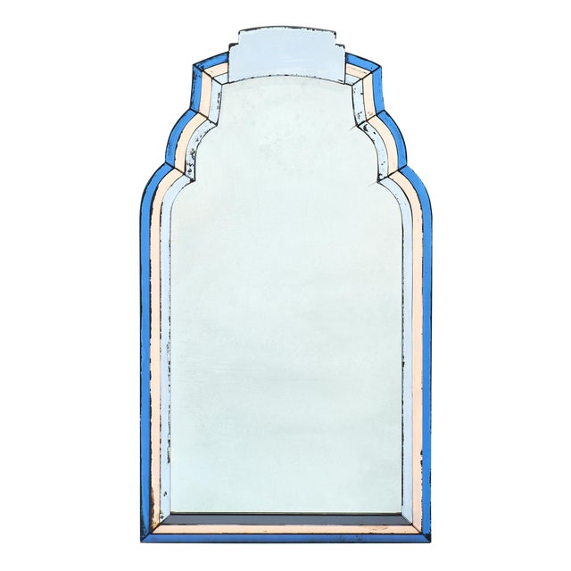 French Vintage Blue and Pink Mirror For Sale