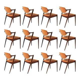 Mid Century Kai Kristiansen Restored Rosewood Dining Chairs - Set 12 For Sale
