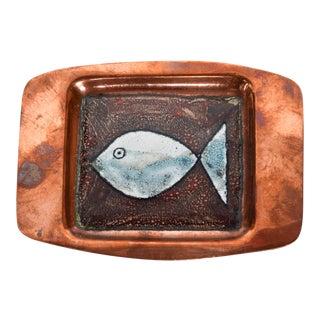 Mid-Century Modern Enamel Copper Fish Decorative Plate For Sale