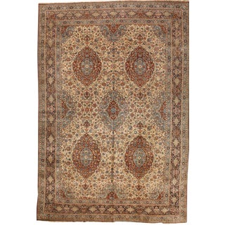 Exceptional Antique Oversize Persian Dabir Kashan Carpet For Sale
