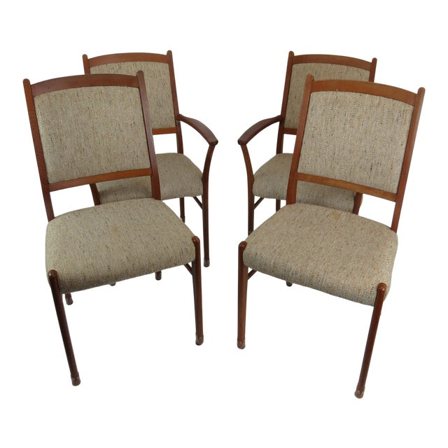 1960s Sculptural Mid-Century Modern Danish Teak Dining Chairs - Set of 4 For Sale