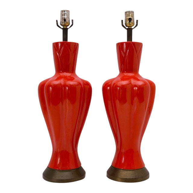 Mid-Century Chinoiserie Orange Table Lamps - A Pair - Image 1 of 8