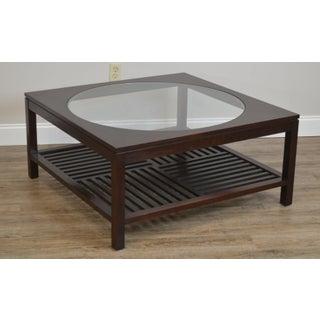 Stickley Dark Cherry Metropolitan Square Coffee Table W/ Round Glass Preview