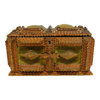 Antique Tramp Art Lovers Jewelry Box For Sale