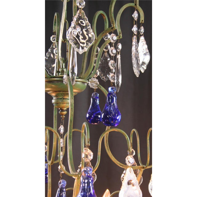 Large Maria Theresa Style 12-Arm Chandelier Blue - Image 7 of 8