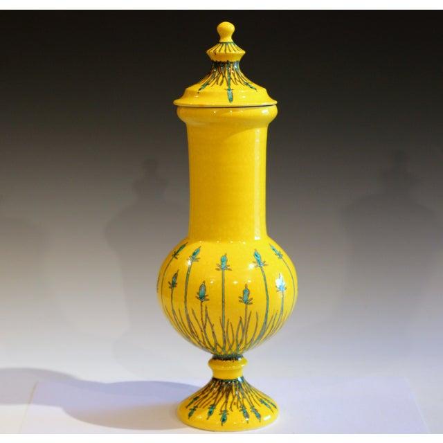 Vintage Italian Mancioli Pottery Yellow Covered Raymor Jar For Sale - Image 11 of 11