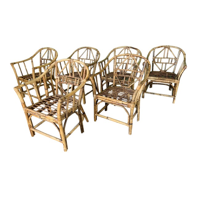 Brighton Style Pavilion Rattan Dining Chairs - Set of 6 For Sale