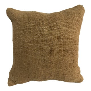 Turkish Bronze Color Handmade Kilim Pillow Cover For Sale