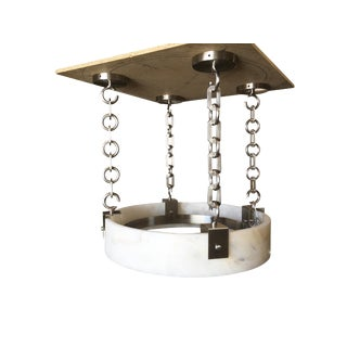 Modern Flush Mount Chandelier With Large Alabaster Shade For Sale